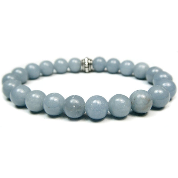 Angelite 8mm Round Crystal Bead Bracelet