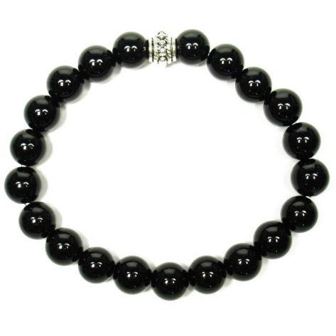 Onyx (Black) 8mm Round Crystal Bead Bracelet