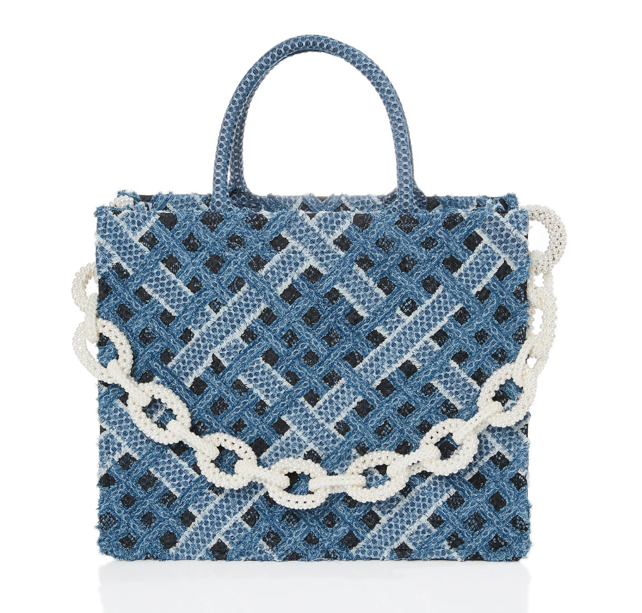 3NYCONCEPT.COM - LauLau Chichi Pearl denim on lace  - large bag
