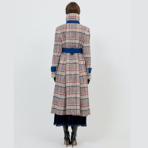 Long Wool Coat w/ belt Redcheck