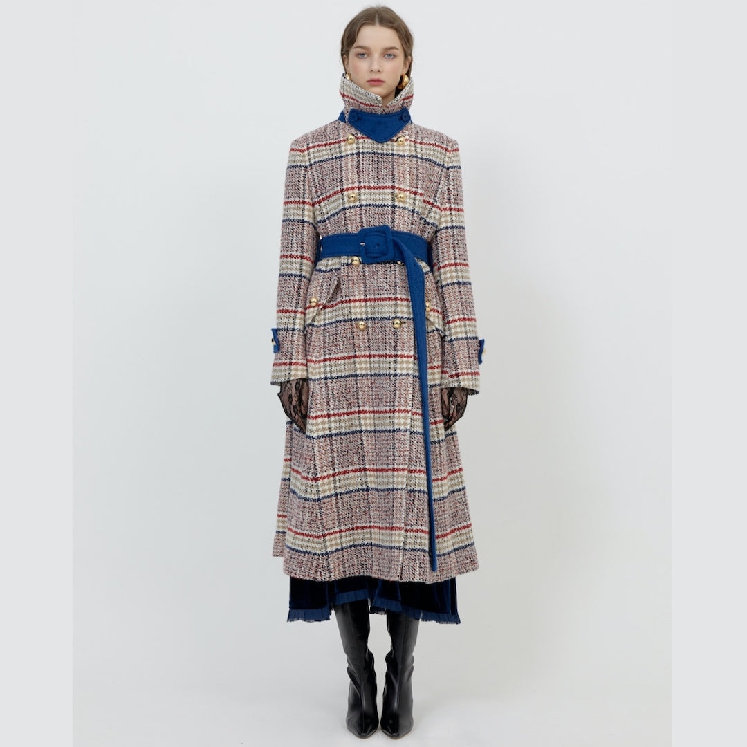 3NYCONCEPT.COM - Long Wool Coat w/ belt Redcheck