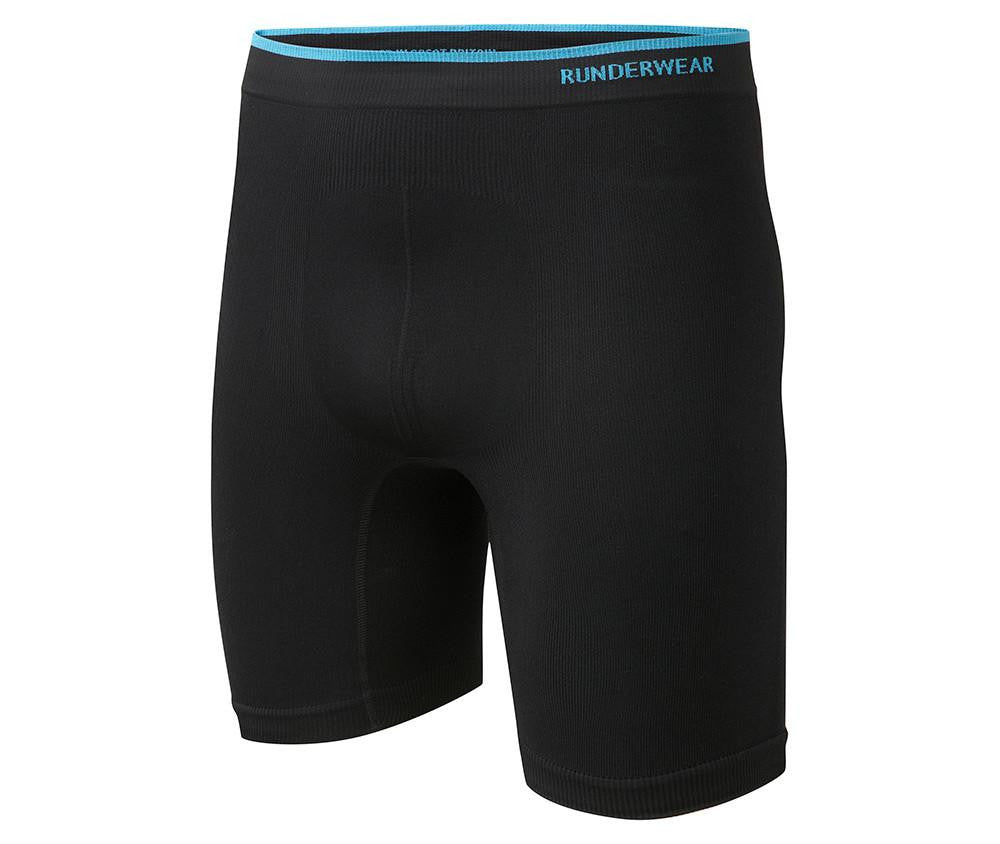 Men's Runderwear Long Boxers 3 Pair Pack - Black