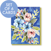Set of 6 Cobalt Bouquet All Occasion Cards