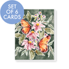 Set of 6 Butterflies and dark green All Occasion Cards
