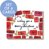 Set of 6 Merry Christmas presents cards