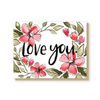 Love you red flowers card