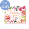 Set of 6 cards: Thank you! card in Mallory's coral and peach flowers