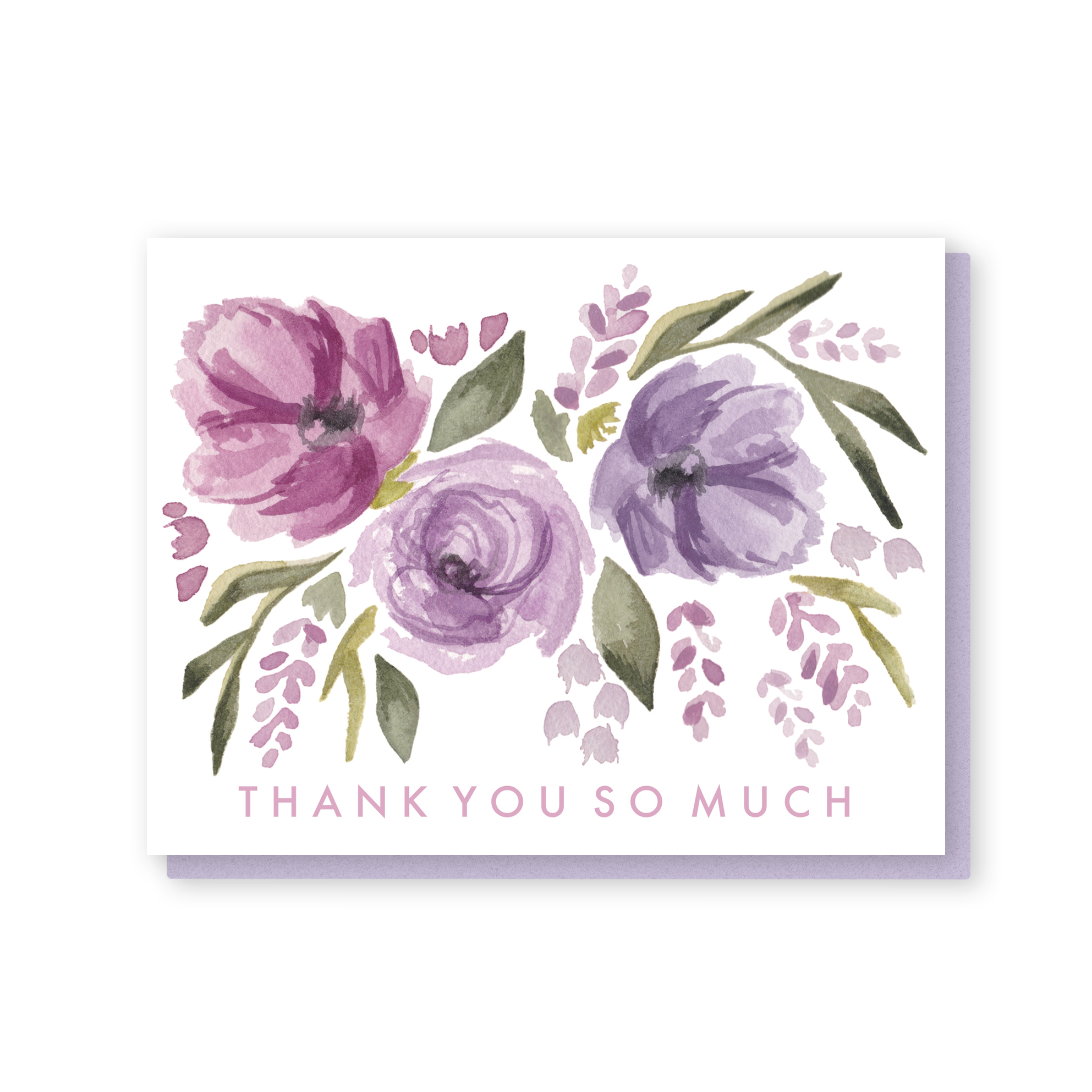 Thank You So Much Card In Lavender Flower Fall Sommer Letter Co
