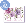 Set of 6 cards: Thank you so much lavender flower fall card