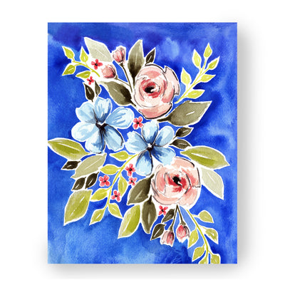 Cobalt flowers art print