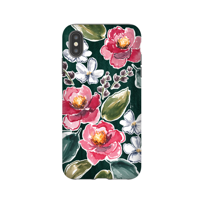 iPhone case in Teal and Peonies
