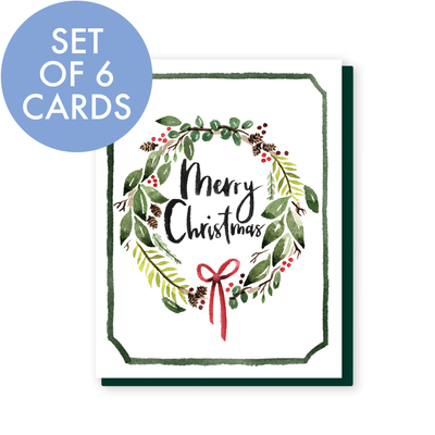 Set of 6 Merry Christmas Wreath Cards