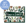 Set of 6 Peace on Earth pinecones and greenery cards