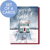 Set of 6 Joy to the World Christmas house cards