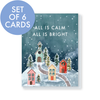 Set of 6 All is calm little village cards