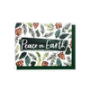 Peace on earth pinecones and greenery card