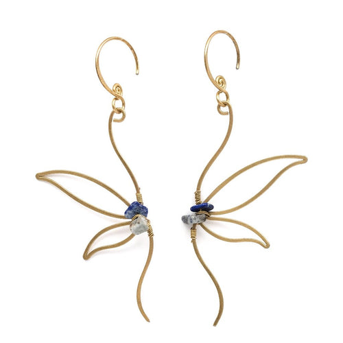 Dragonfly Wings Earrings (Lapis)