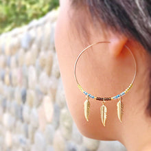 Golden Feathered Dangle Hoops