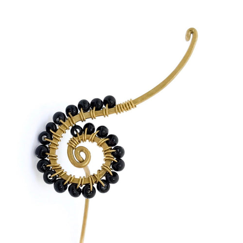 Spiral Long Post Earrings (Onyx)