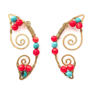 Brilliant Butterfly Earrings (Turquoise/Red Coral)
