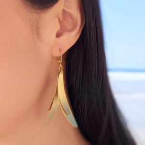 Brass Leaves Dangle Earrings