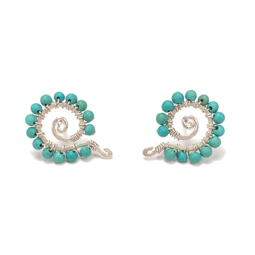 Turquoise Spiral Stud Earrings (Silver Brass)