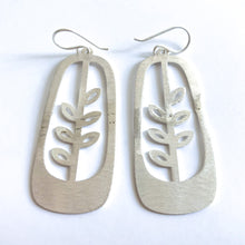Brushed Silver Dangle Earrings (Budding Plant) - CLEARANCE