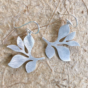 Brushed Silver Dangle Earrings (Leafy Branch)