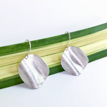 Brushed Silver Dangle Earrings (Wavy Circles)