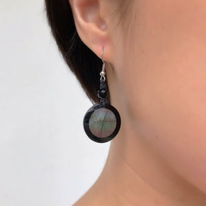 Dark Nacre Dangle Earrings