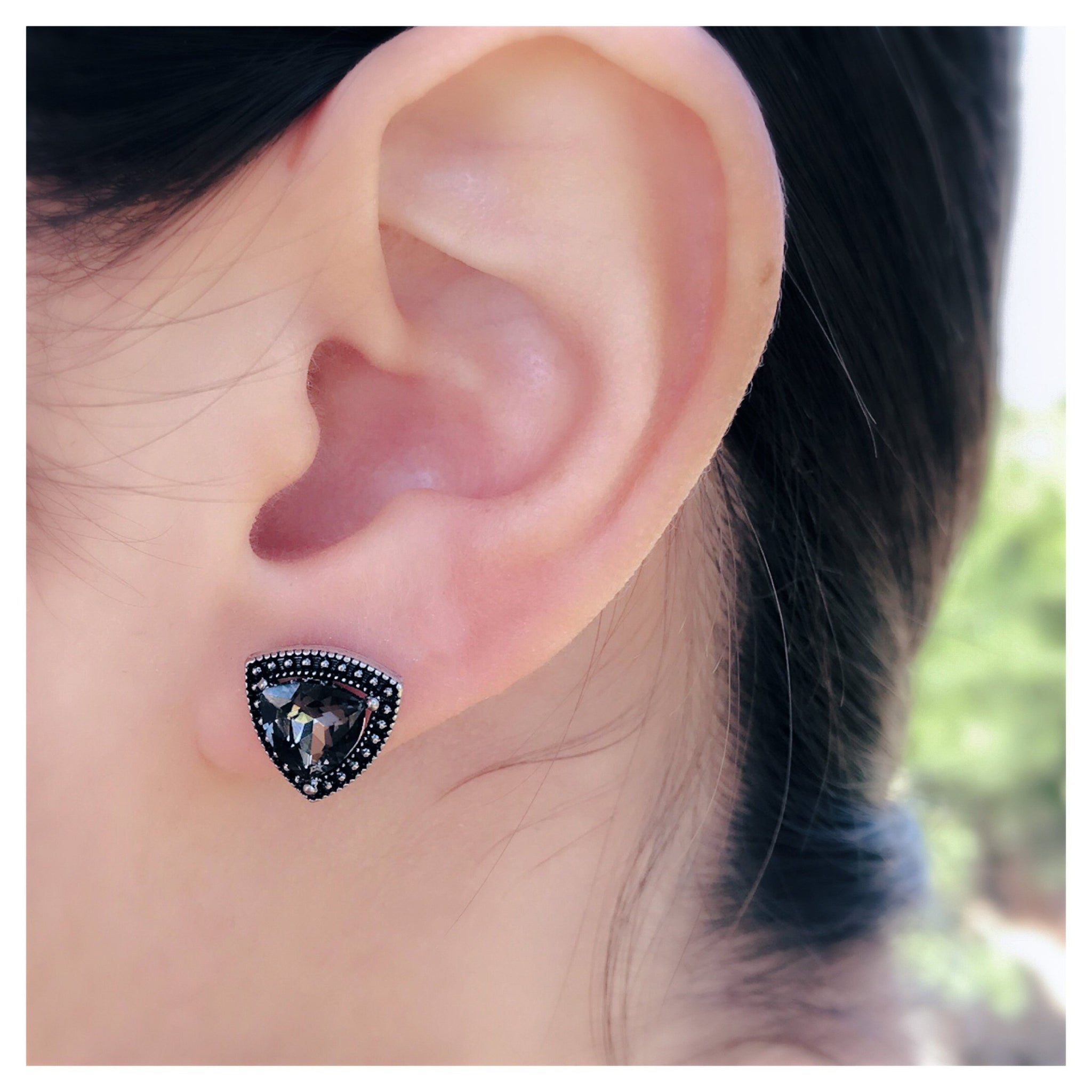 gold itm lucia crystal earrings stud silver costin over black ebay