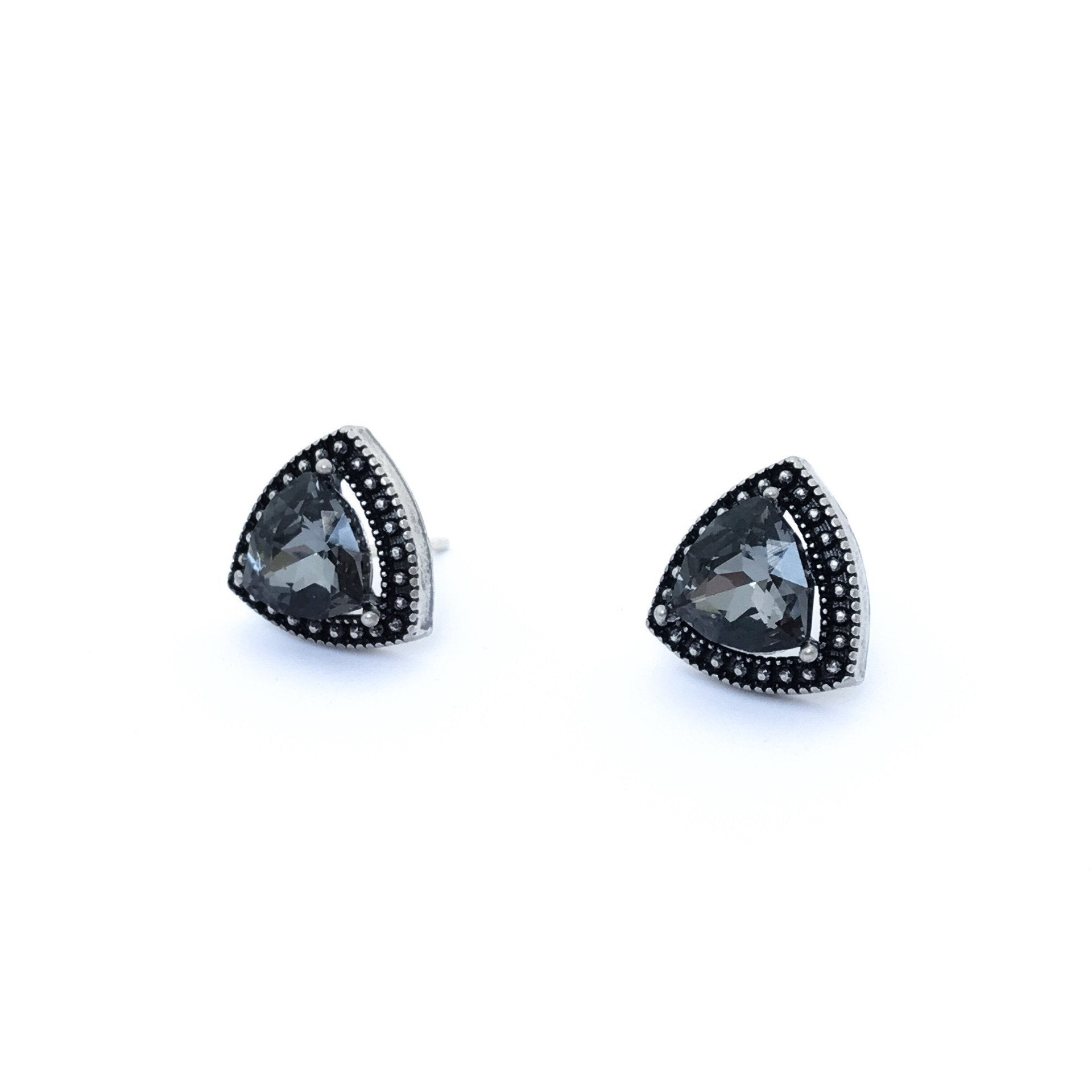 silver black s earrings hematite stud crystal in