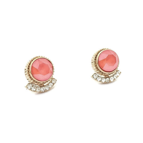Simple Swarovski Stud Earrings (Coral Pink)