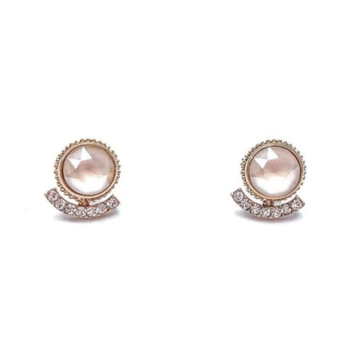 Simple Swarovski Stud Earrings (White)