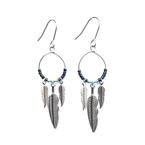 Silver Feathered Dangle Hoops