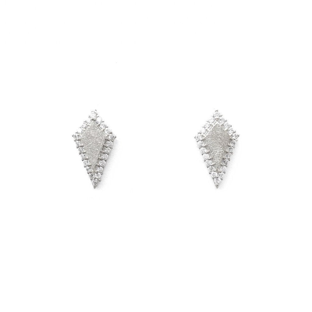 Quadrilateral Stud Earrings (Rhodium)