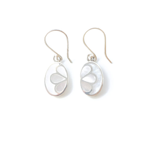Inlaid Lotus Oval Dangle Earrings (Mother of Pearl)