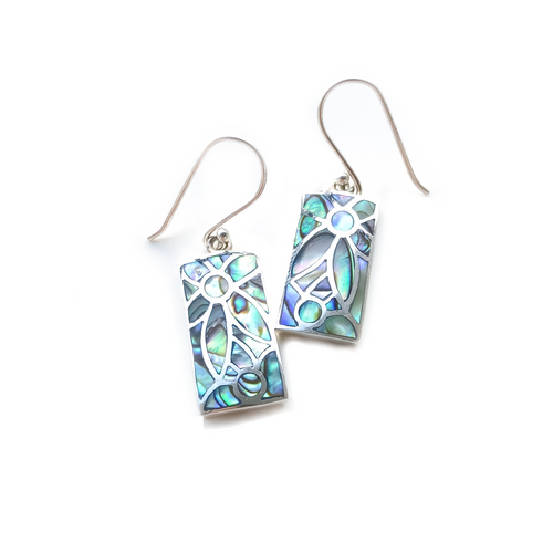 Mother of Pearl Mosaic Dangle Earrings