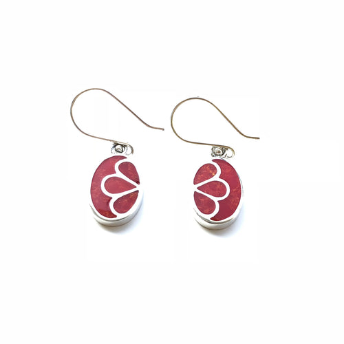 Inlaid Lotus Oval Dangle Earrings (Red Coral)