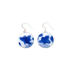Blue & White Porcelain Dangle Earrings (Round)