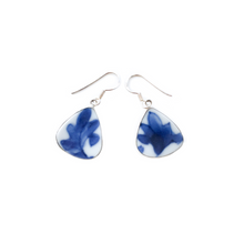 Blue & White Porcelain Dangle Earrings (Raindrop)