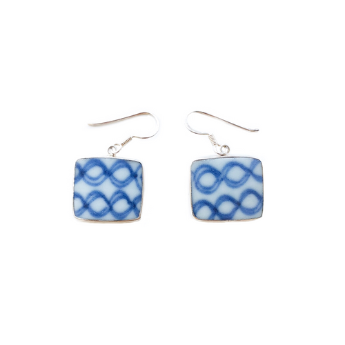 Blue & White Porcelain Dangle Earrings (Square)