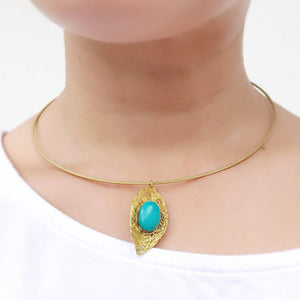 Leaf Pendant Collar Necklace