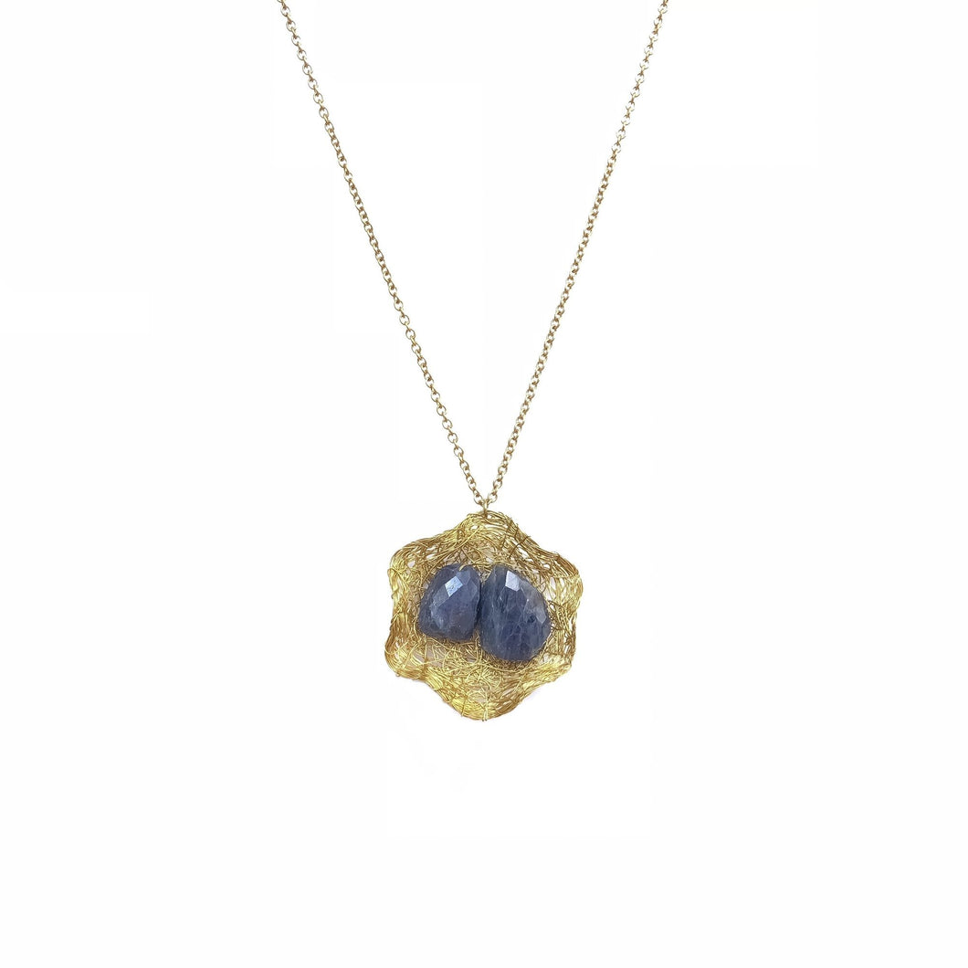 Gemmed Basket Necklace (Iolite)