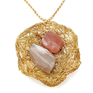 Gemmed Basket Necklace (Moonstones)