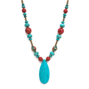 Bold Turquoise & Agate Necklace