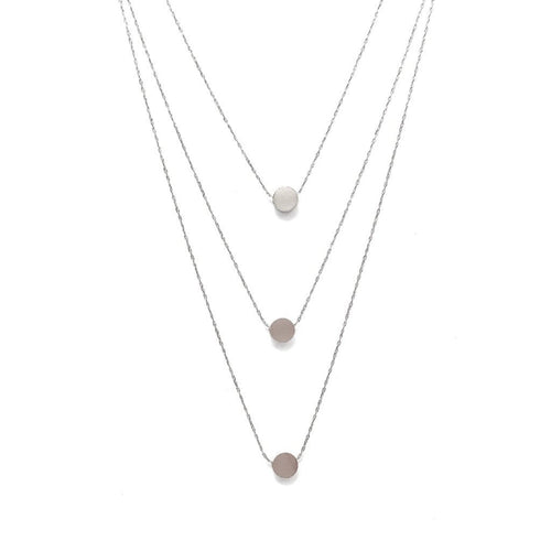 Layer It Up Necklace (Silver Rhodium w/ Circles)