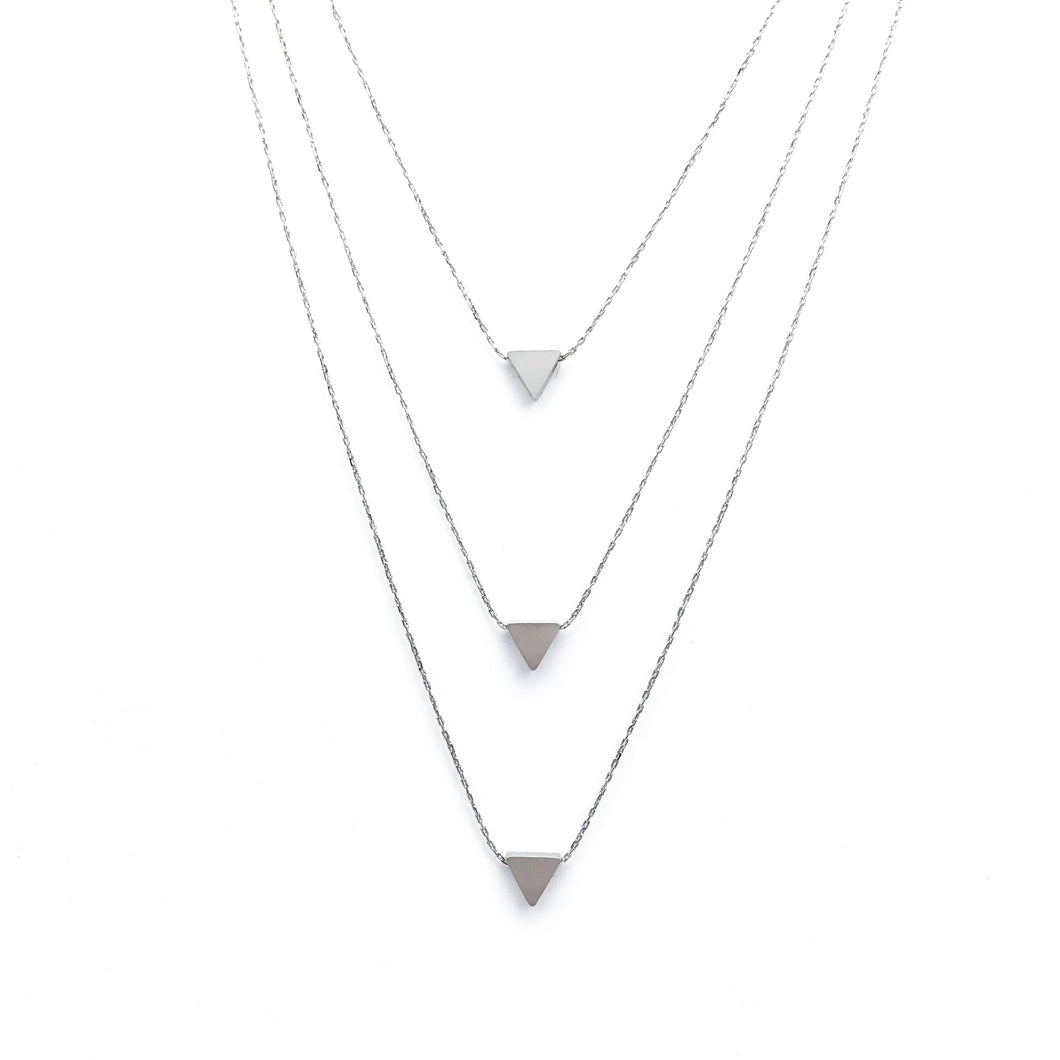 Layer It Up Necklace (Silver Rhodium w/ Triangles)