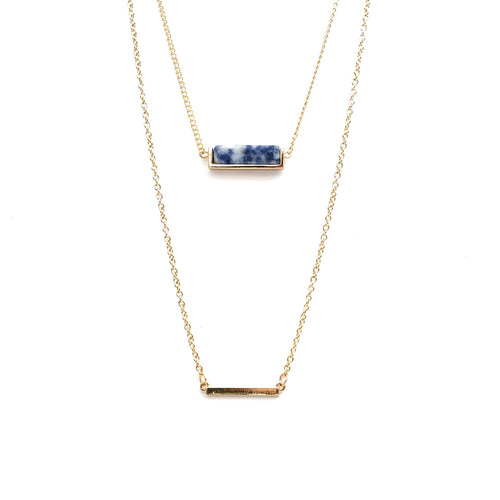Color Bar Layer Necklace (Indigo/White)