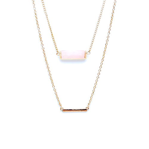Color Bar Layer Necklace (Rose Quartz)